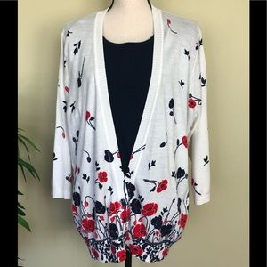 Navy and red floral sweater
